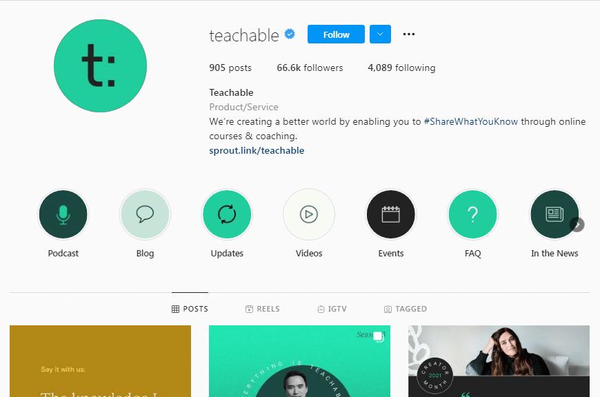 Teachable Instagram Profile