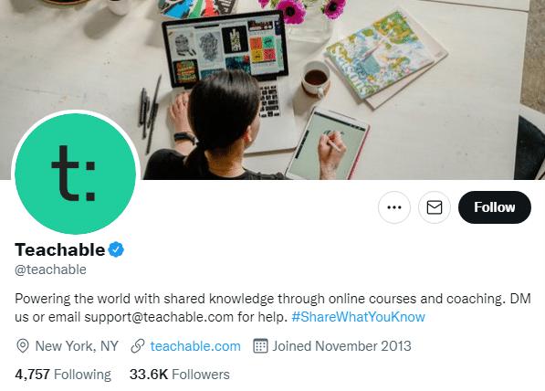 Teachable Twitter Profile