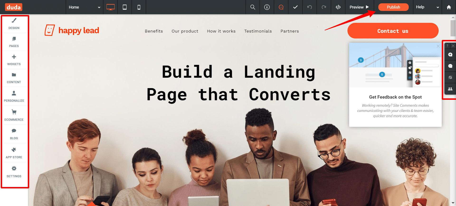 Duda-Site-Editor-drag-and-drop