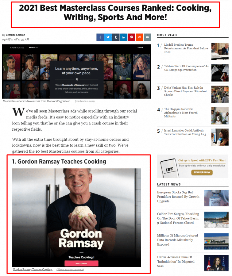 Gordon Ramsay Masterclass Review best cooking course