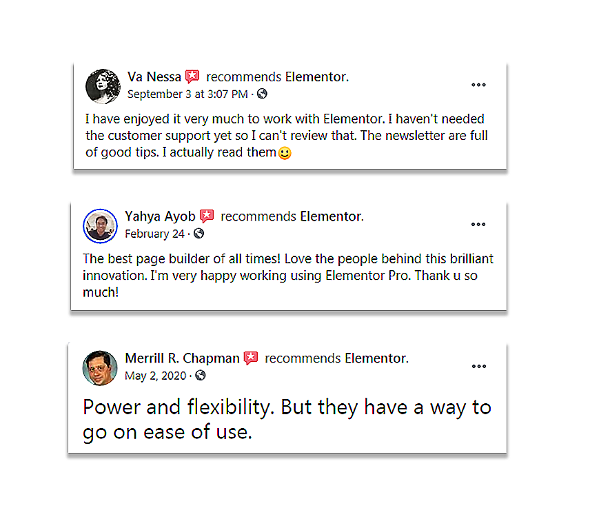 facebook users reviews on Elementor