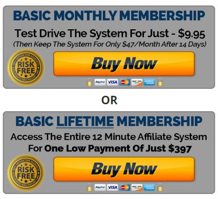 12 Minute Affiliate Lifetime Pricing Plans