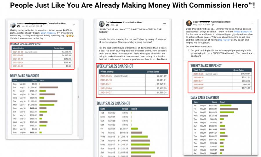 Commission hero income reports