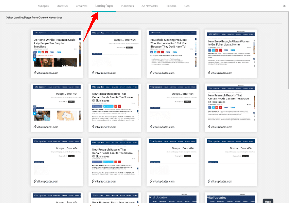Find-All-The-Landing-Pages-of-A-Campaign-from-LP-Tab-Push-Tool