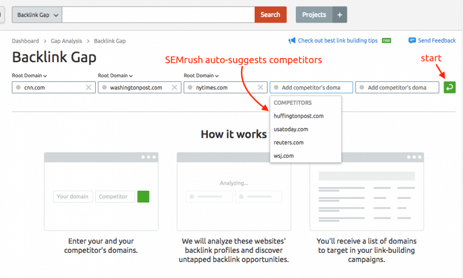 backlink gap competitors feature by semrush