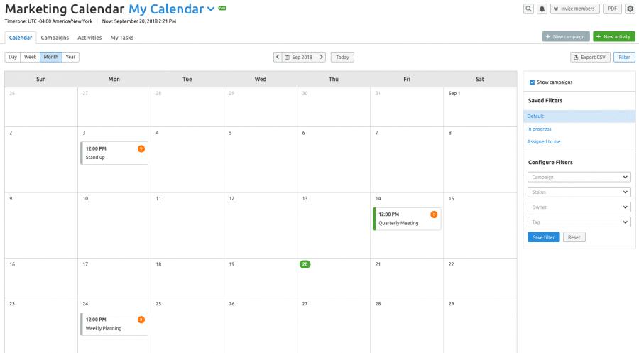marketing calendar feature by semrush