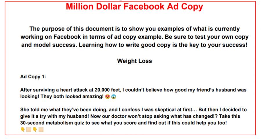 million dollar facebook ad copy