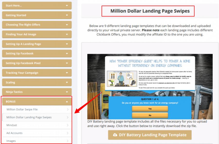 million dollar landing page swipes