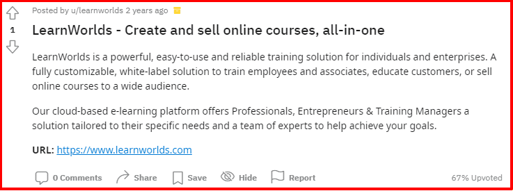 About LearnWorlds on reddit