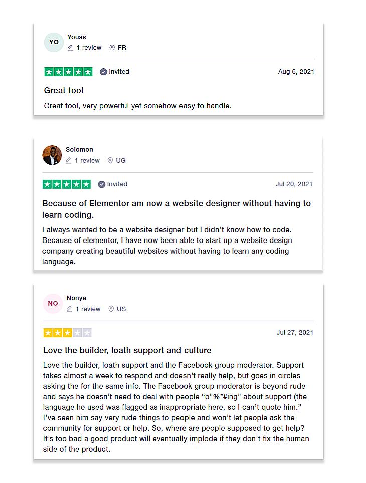 Elementor Review on Trustpilot