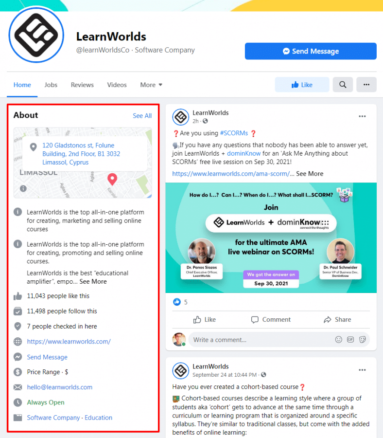 Learnworld's facebook homepage