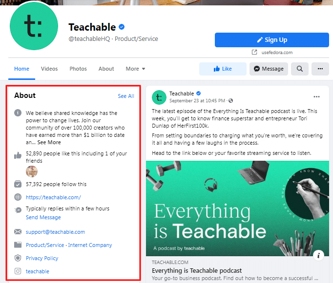 Teachable Facebook Page