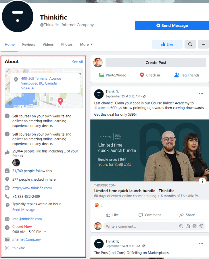 Thinkific Facebook Page