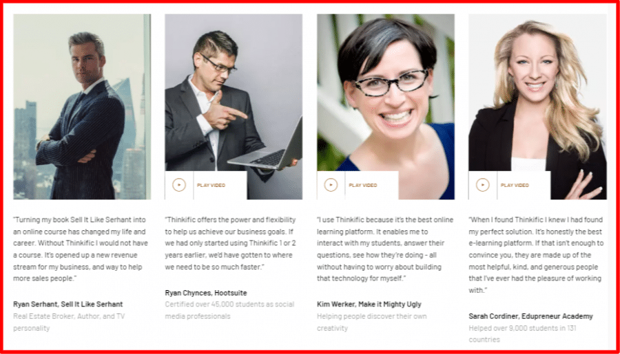 Thinkific Testimonials by Experts